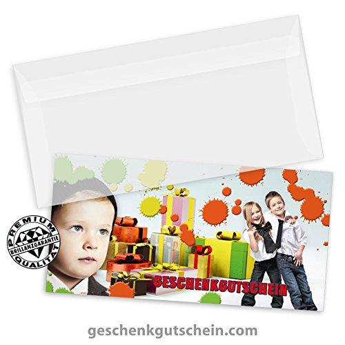 10 Stk. Multicolor-Geschenkgutscheine + 10 Stk. Kuverts für Mode, Kindermode, Bekleidung FA253 (Bekleidung Infant Lila)