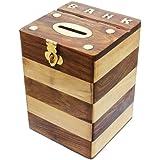 En bois argent Banque boîte Treasure Chest tirelire à la main en Inde