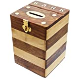 RoyaltyRoute Dual Tone Wooden Artwork Piggy Bank Octagon Shaped Money Safe Boxes