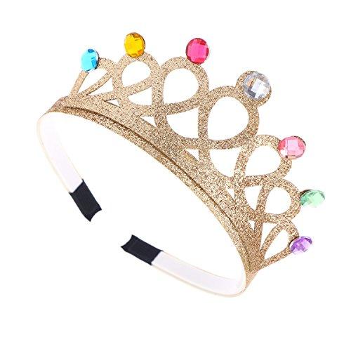 Princess Girls Golden Kostüm - Lurrose 4pcs /Set Non Slip Crystal Bling Bling Delicate Princess Tiara Crown Birthday Party Supplies Rhinstone Headband for Kids Girls Children