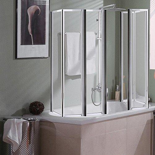 2x 3teilige Glas Duschabtrennung Badewannenaufsatz Badewannenfaltwand Duschwand