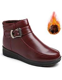 Mujer Botas de Nieve Zapatos Invierno Impermeables Calientes Botine  Forradas Cortas Tobillo Boots de Cuero 3d0eab13c63e