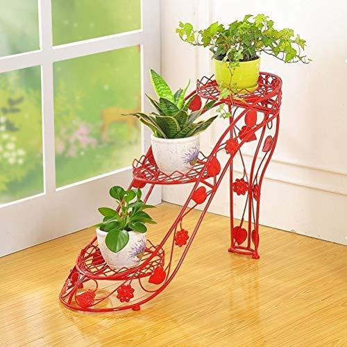 YGH Pflanzen Sie Stand-Schmiedeeisen-Blumen-Speicher-Gestell, 3 Schicht-kreative Mehrschichtige Blumentopf-Boden-Regale des Hohen Absatzes, Eingemachtes Garten-Balkon-Anzeigen-Fach (Color : Red)