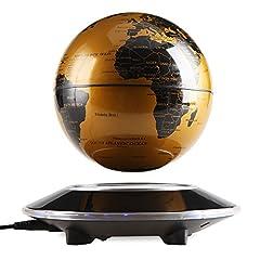 Idea Regalo - EASY EAGLE Levitazione Magnetica, Globo Magnetico LED Fluttuante Levitazione Globo con World Map Imparare Decorazione della Ufficio Casa 6'' Oro