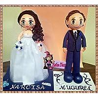Fofuchos figura pareja novio bases separadas boda tarta nupcial 35 cms. personalizados