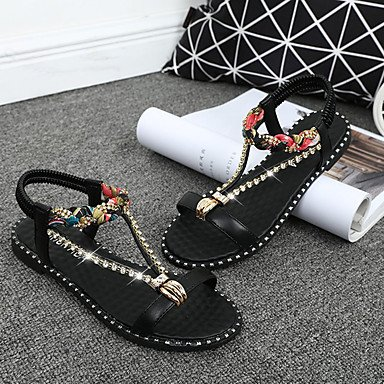 LvYuan Da donna Sandali Comoda PU (Poliuretano) Estate Casual Footing Comoda Brillantini Piatto Bianco Nero Piatto White