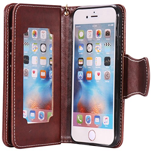 "Lankashi Housse Case Stand Cuir Cover Flip Etui Coque Protection Skin Wallet Pour Apple Iphone 6 4.7"" Blue Desing Brown"