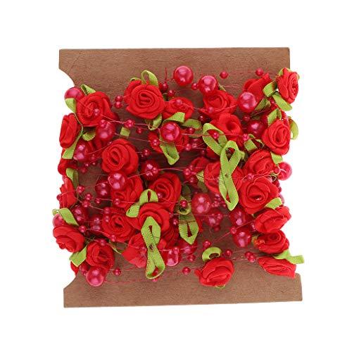 P Prettyia 5m Perlenband mit Rose Blumen Schleifenband Dekoband Hochzeitsband Hochzeit DIY Basteln - rot, 5 m