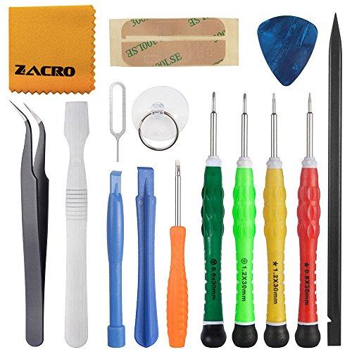 Zacro 15 in 1 Reparatur Werkzeug Set Tool kit für Smartphones iPhone 7 / 7 Plus / 6 /6 Plus / 5S / 5C / 5/ 4S / 4 und Smartphone & Multimedia oder andere Kleingeräte, Inkl. Mikrofasertuch