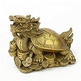 Bagua Windspiel Feng Shui chinesischer Drache Edelstahl Tortoise am Münzfach aus Messing Buddhafigur Statue Figur plus gratis Mxsabrina mit roter Schnur Armband M4001