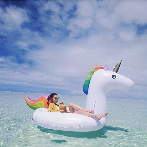 Pool schwimmen Spielzeug Einhorn Aufblasbare Unicorn Pool Float Riesen Schwimmbad Raft für Erwachsene & Kids Inflates und Deflates Fast von Mingmei Eur - 6