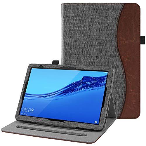 Fintie Hülle für Huawei MediaPad T5 10 - Multi-Winkel Flip Betrachtung Kunstleder Schutzhülle mit Dokumentschlitze für Huawei MediaPad T5 10 10.1 Zoll 2018 Tablet PC, Denim dunkelgrau