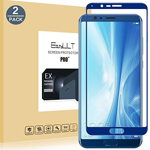EasyULT Verre Trempé Huawei Honor V10[2-Pièces], Huawei Honor V10/Honor View 10 Protection écran Protecteur d'écran Full Vitre Trempe Screen Protector(Couverture Complète)(Bleu)