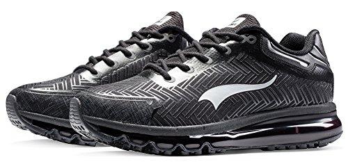 Onemix Mens Scarpe Da Corsa Cuscino Daria Sportivo Sneakers Fitness Nero / Argento
