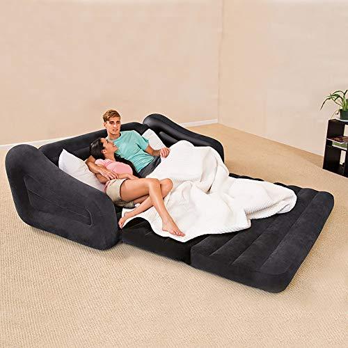 ZLZL 5 In 1 Aufblasbare Multifunktions Doppel Luftbett Sofa Stuhl Couch Liege Matratze Klapp Faul Aufblasbare Schlafsofa Mittagspause (5 In 1 Sofa Luftbett Couch),Black - Doppel-liege Stuhl