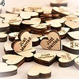 Bodhi2000 - Cuori di legno, dallo stile rustico, per decorare tavolate e da usare come confetti a matrimoni e feste, confezione da 100, Legno, Just Married, taglia unica