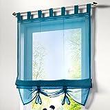 Souarts Blau Transparent Gardine Vorhang Raffgardinen Raffrollo Schlaufenschal Deko für Wohnzimmer Schlafzimmer Studierzimmer 80x155cm