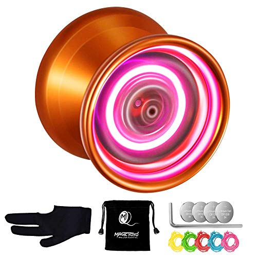 Professionelles Jo Jo Nicht reagierendes YoYo Leuchten Sie Yo Yo MAGICYOYO Y02-AURORA Aluminiumlegierung Yo Yo + 5 Saiten + Tasche + Handschuh (Orange mit rosa Licht)