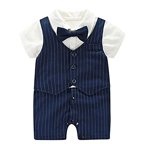 Fairy Baby Baby Boy Formal Outfit Short Sleeve Tuxedo Plaid Gentleman Suit,3-6M,Navy Blue Stripe