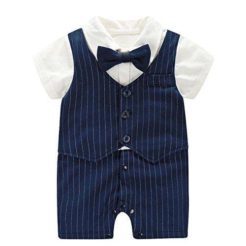 Fairy Baby Baby Outfits Jungen Smoking Anzug Kurze Abendkleider Festliche babymode Kleidung mit Fliege Strampler, Navy blau Streifen, 6-9 Monate