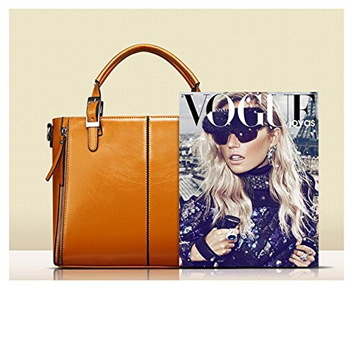 Leder PU MeiliYH Handtasche Handtasche Damen Crossbody Schultertasche Ledertasche Glatt Orange Geräumig qO4tZ