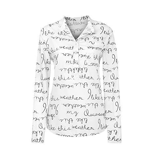 äufiges mit Blumen Bedrucktes Knopf-T-Shirt Chiffon Unregelmäßige Rand Spitzen Bluse ... ... (XL, Weiß2) ()