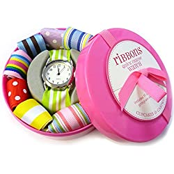 Ribbon Watch Kids Girls Ladies Set with Matching and Additional Multi Colour Interchangeable Customised Personalised Straps in Beautiful Box