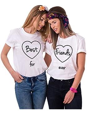 Mejores Amigas Camiseta T-Shirt BFF 2Piezas 100% Algodón Impresión Corazón Best Friends Forever Camisa para Mujer...