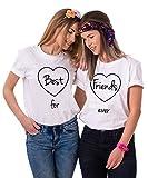 Best Friends T-Shirts für Zwei Damen 2 Stücke Freundin mit BFF Freunde Shirt Freundschaft Baumwolle Sommer Tops S+Friends-L