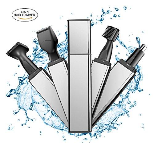 Regolatore peli del naso, trimmer peli in acciaio 4 in 1 wontechmi, regolatore per sopracciglia, regolatore per peli delle orecchie, rasoio elettrico per basette, regolatore per barba asciutta/bagnata, regalo del papà
