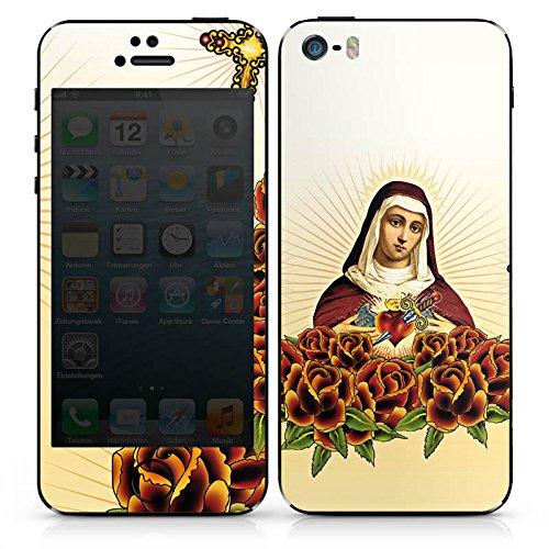 Apple iPhone 5s Case Skin Sticker aus Vinyl-Folie Aufkleber Maria Kreuz Rosen DesignSkins® glänzend