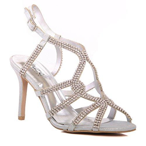 Unze Le nuove donne Ladies 'Belaa' Diamante ha abbellito il cinturino alla caviglia peep toe Mid tacco alto da sera, da sposa, partito di promenade scarpe Dimensioni 3-8 Argento