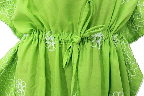 La Leela alle in 1 Damen Rayon Partei Cocktail Tunika Bikini bestickte verschleiern oben Vintage-Kleider Badebekleidung Kordel Nachthemden tiefer Ausschnitt langes Abendkleid Kaftan Frauen Grün 3
