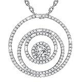 Dawanza-Valentinstag Geschenke Halskette Damen Weiß Vergoldet - Kristall Weiß mit Exzentrischer Kreis Anhänger - Modeschmuck mit Kette