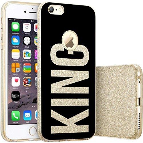 finoo | iPhone 7 Goldene bedruckte Rundum 3 in 1 Glitzer Bling Bling Handy-Hülle | Silikon Schutz-hülle + Glitzer + PP Hülle | Weicher TPU Bumper Case Cover | Queen Black King Black