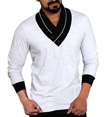 Seven Rocks Men's Plain Regular FIt T-Shirt (L-UN-LG_Light Grey, Black_Large)