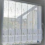 Cliprollo Kringel weiß grün mit Höhe 145cm (ungerafft) | Breite der Gardine frei wählbar in 16cm Schritten | Gardine | Panneaux