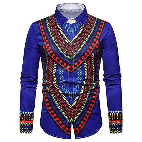 (Longzjhd Herren Langarmshirt Shirt Luxus Afrikanisch Gedruckt Stehkragen Pullover Bluse T Shirt Herbst Freizeithemd Vintage Tops Oberteile Streetwear Hemd Outwear Lässige)