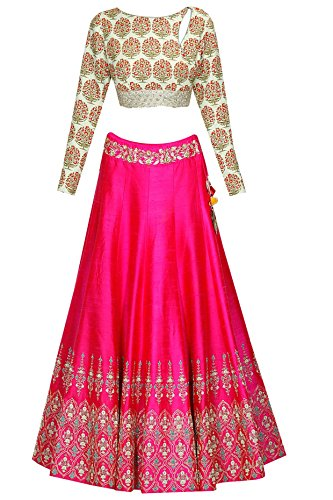 FabTexo Pink Color Raw Silk Lehenga Choli For Women's (Semi_Stiched)