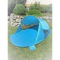 Pop-Up Strandmuschel blau Wurf-Zelt Strand Camping Sonnen-Schutz Wind türkis Pop UP