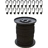 Expanderseil 20 m Schwarz 10 mm Gummiseil Gummischnur Spannseil Planenseil Gummileine elastisches Seil spannen und befestigen + 20 Spiralhaken Schwarz für ø 10 mm Expanderseil