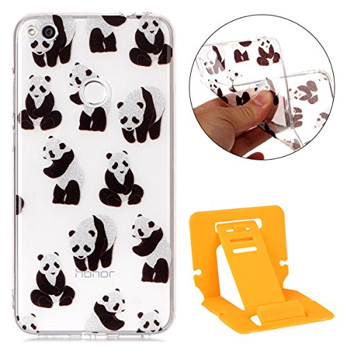 Transparent Coque pour Huawei P8 Lite 2017,Huawei P8 Lite 2017 Soft Silicone Tpu Coque Mode,Ekakashop Jolie Loup Campanula Design Ultra Slim-fit Antidérapant Coque de Protection Crystal Clair Souple G Panda