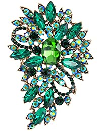 TENYE Women's Marquise Austrian Crystal Wedding Flower Leaf Bouquet Brooch