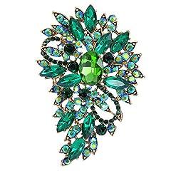 Idea Regalo - Spilla Gioiello,TENYE Marquise Cristallo austriaco Sposa mazzo di fiori e foglie Spilla Verde Colore smeraldo Oro-fondo