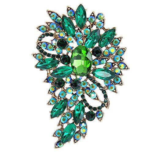 Spilla Gioiello,TENYE Marquise Cristallo austriaco Sposa mazzo di fiori e foglie Spilla Verde Colore smeraldo Oro-fondo