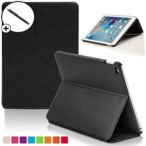 ForeFront Cases® Neue Apple iPad Air Hülle Schutzhülle / Ständer Smart Case - Magnetische Auto Sleep/Wake-Funktion für 2013 iPad Air + WiFi 16Gb, 32Gb, 64Gb, 128Gb - inkl. Eingabestift - SCHWARZ