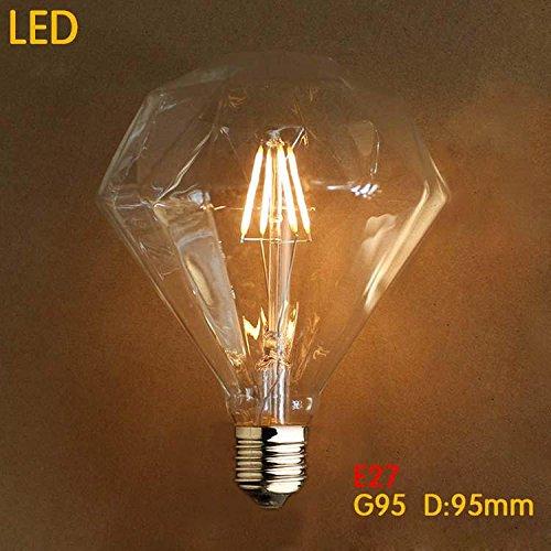 Vintage Edison Glühlampe Dimmbar E27 4W 280LM 2300K G95 LED Leuchtmittel Diamant Retro Glühlampe [Energieklasse A++]