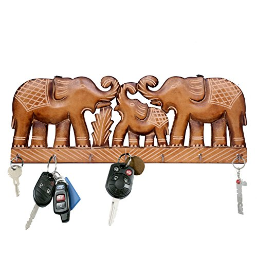WILLART - Llavero de Madera para Colgar en la Pared, diseño de Elefante, para decoración del hogar, decoración del hogar (Ganchos para Llaves: 7) Dimensiones: 40 x 15 x 2 cm