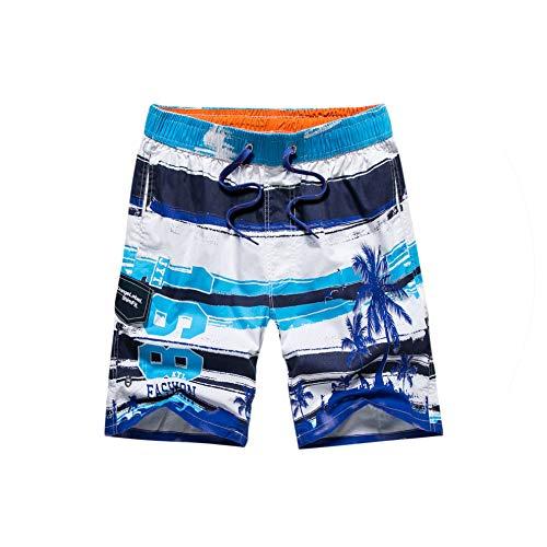 Casual Summer Shorts Men Cotton Designer Printing Beach Shorts for Mens,Blue,L