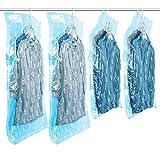 TAILI Hängend Vakuum-Aufbewahrungsbeutel zum Unterbringen von Kleidung im Schrank, platzsparend, Kleidersack mit Kleiderhaken, Blau, 4 Stück (105x70cm,135x70cm)